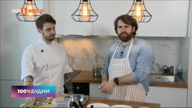 Бързи рецепти с шеф Виктор Жечев: Пилешки шницел с царевично рагу