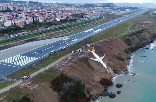 Турски самолет излезе от пистата и спря на метри от морето