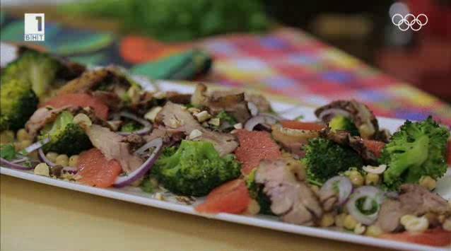 Ориенталска салата с патешко, нахут и грейпфрут