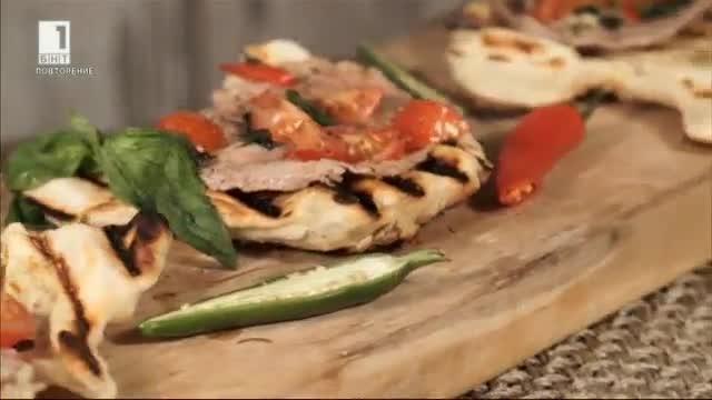 Пърленка с масло, свинско и доматен сос