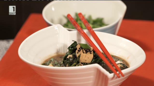 Карамелизирано тофу със спанак