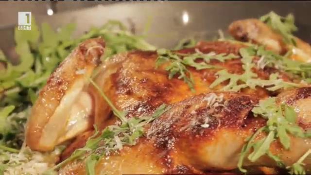 Пушено пиле с ризото Верде