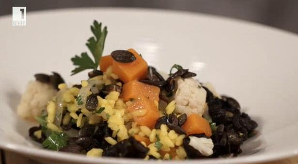 Оризова салата с тиква и гъби