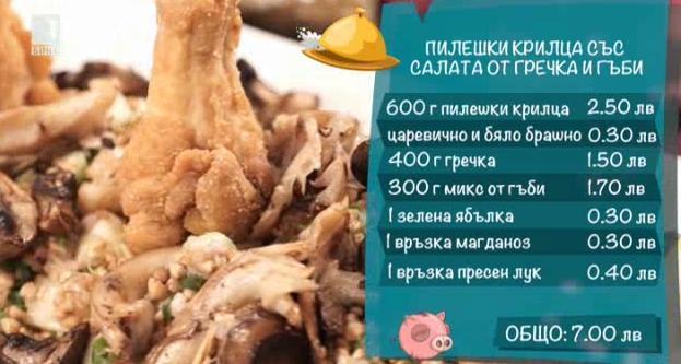 Пилешки крилца със салата от гречка и гъби