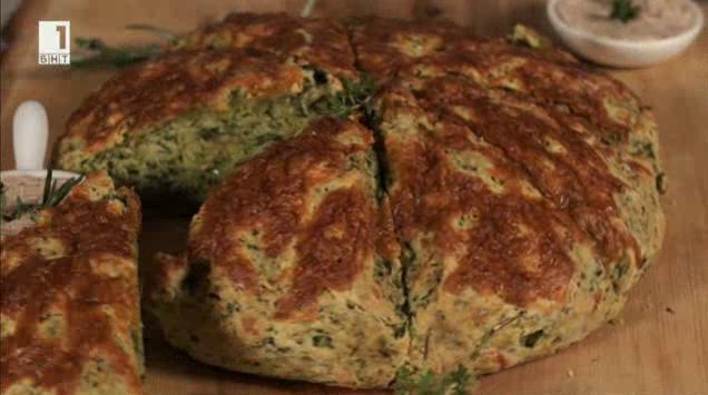 Спаначен хляб с масло и билки