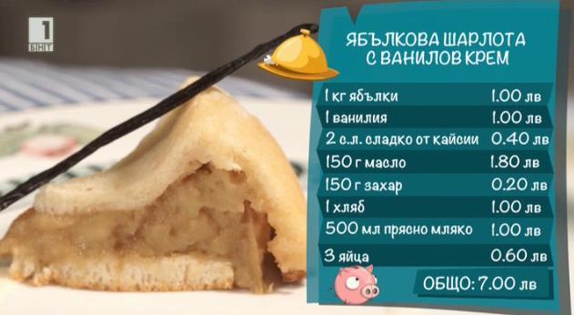 Ябълкова шарлота с ванилов крем
