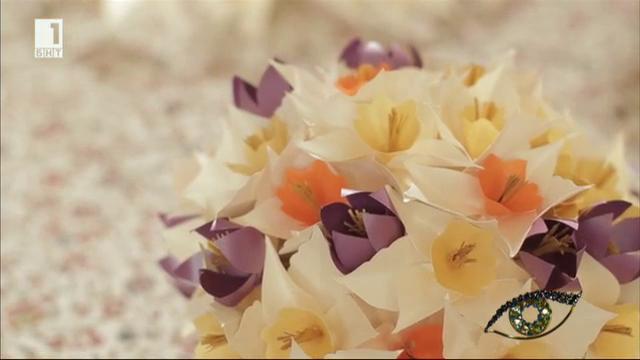 Цветя от перлен картон