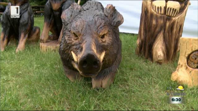 Българин изработва дървени скулптури на животни с моторен трион