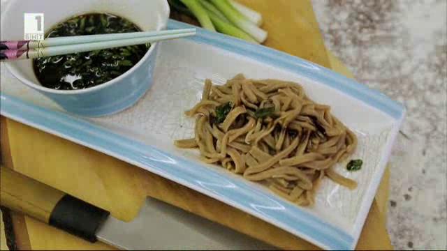 Соба - японска паста с елда и лимец