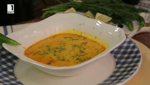 Рибена супа с печен ориз