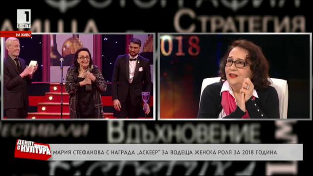 Мария Стефанова с награда Аскеер за водеща женска роля за 2018 година