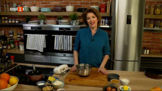 """Лучена супа с бяло вино и сирене и сладкиш """"Чорлавата Кейт"""" с карамелен сос"""