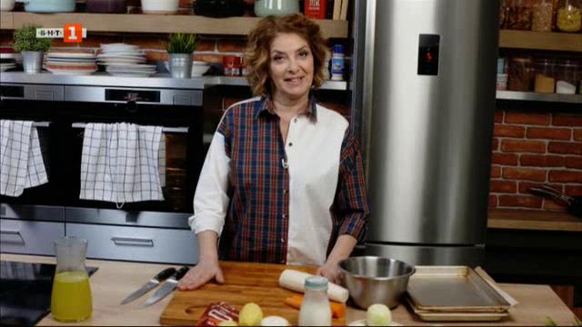 Супа от целина и картофи с пикантни крутони и гуакамоле с печени зеленчуци
