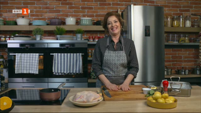 Печено пиле с маслена коричка и картофи и пролетна супа с коприва и ориз