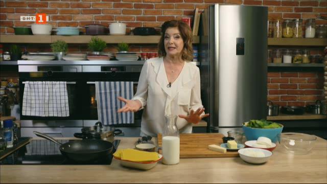 Лазаня със спанак, рикота и сос Бешамел и салата с домашно песто от магданоз