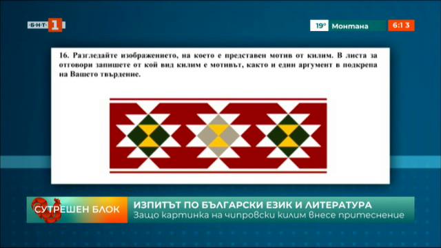 Защо картинка на чипровски килим внесе притеснение на изпита по БЕЛ