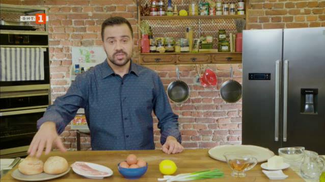 Яйца по бенедиктински със сос холандез и тарт с чери домати, моцарела и босилек
