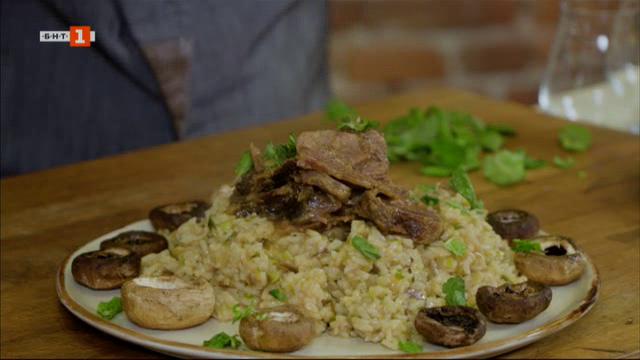 Шилешко с гарнитура ориз и гъби