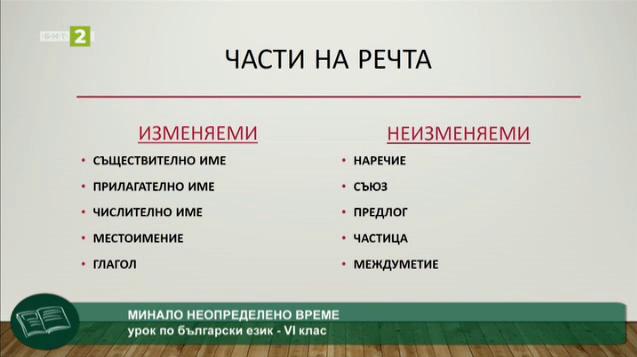 Български език 6.клас: Минало неопределено време
