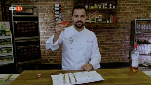 Скариди в билково масло и гръцка салата и лятно парфе с кисело мляко