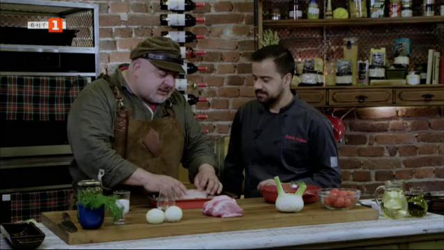 Кебап в лозов лист с домати и узо и риба с тиквички и сметана на фурна