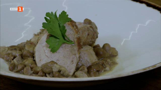 Свинско бонфиле с гъби и топено сирене, свинско бонфиле с челядинки