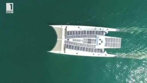 Кораб, задвижван от слънце, вятър и водород обикаля света